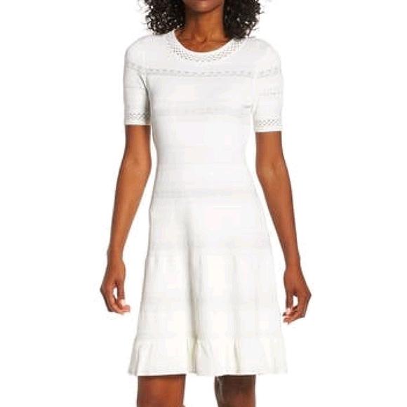 Eliza J Pointelle Ruffle Hem Ivory Slip On Dress M